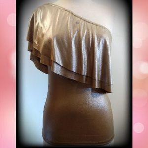 Gianni Bini Metallic Gold One Shoulder Ruffle Top